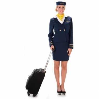 Carnavalspak stewardess blauw