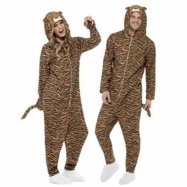 Carnavalspak tijger all-in-one voor volwassenen