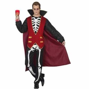 Carnavalspak vampier met skelet opdruk
