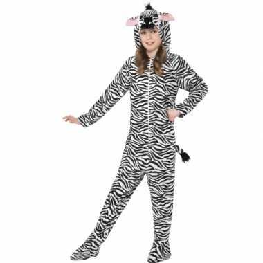 Carnavalspak zebra all in one voor kinderen
