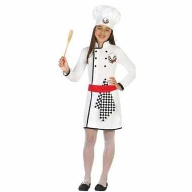 Chef kok verkleed carnavalspak/jurk voor meisjes