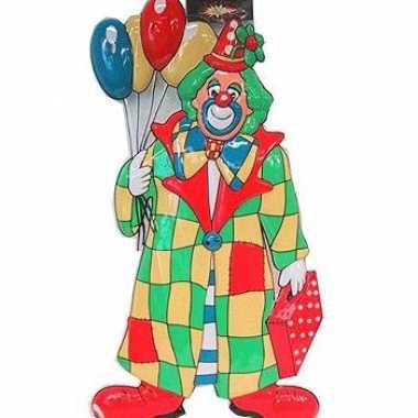Clown carnaval decoratie met ballonnen 60 cm