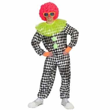 Clown verkleed carnavalspakl zwart/zilver voor heren