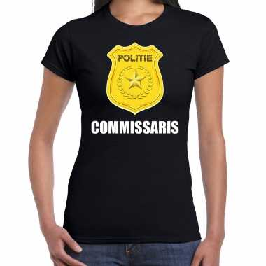 Commissaris politie embleem carnaval t shirt zwart voor dames