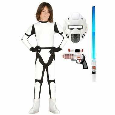 Compleet space trooper carnavalspak maat 122 134 voor kinderen