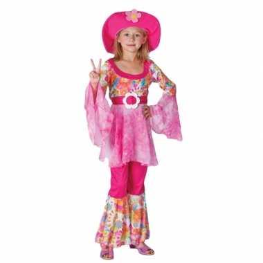 Complete roze hippie carnavalspak voor meiden