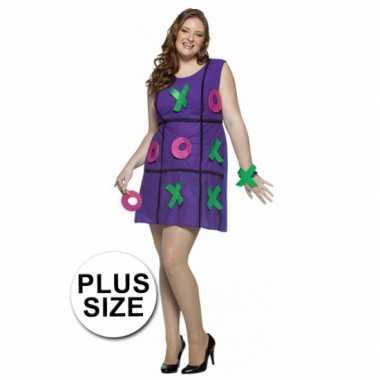 Dames carnavalspak jurk paars plus size