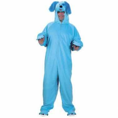 Dieren carnavalspak blauwe hond voor volwassenen