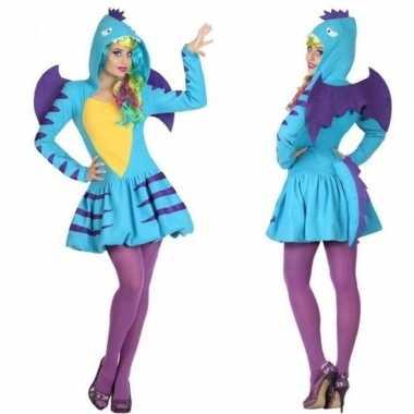 Dierenpak blauwe draak verkleed carnavalspak/jurk voor dames