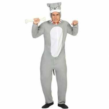 Dierenpak pit bull hond verkleed carnavalspak grijs voor volwassenen