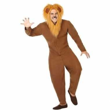 Dierenpak verkleed carnavalspak bruine leeuw voor volwassenen
