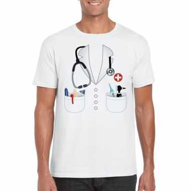 Doktersjas carnavalspak t shirt wit voor heren