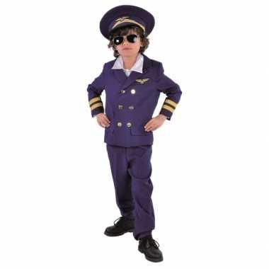 Donkerblauw piloten carnavalspak voor kids