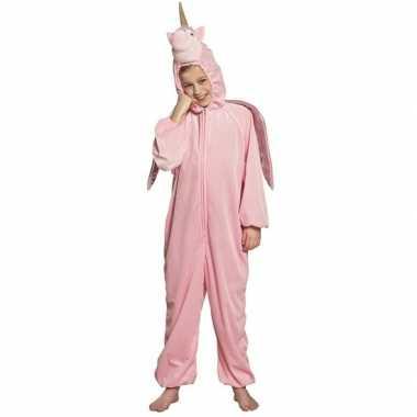 Eenhoorn dieren onesie/carnavalspak voor kinderen roze