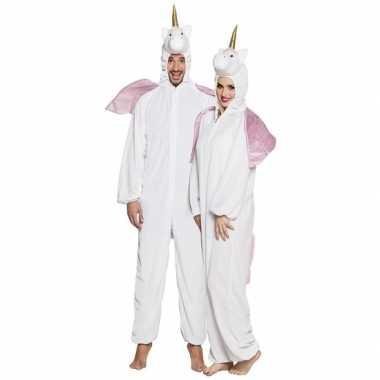 Eenhoorn dieren onesie/carnavalspak voor volwassenen wit