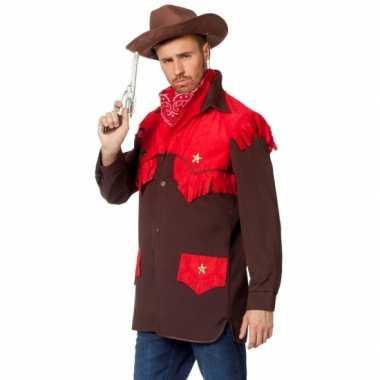 Feest cowboy carnavalspak shirt voor heren