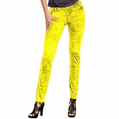 Feestcarnavalspak jeans legging neon geel