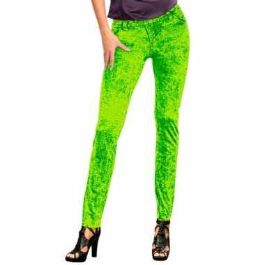 Feestcarnavalspak jeans legging neon groen