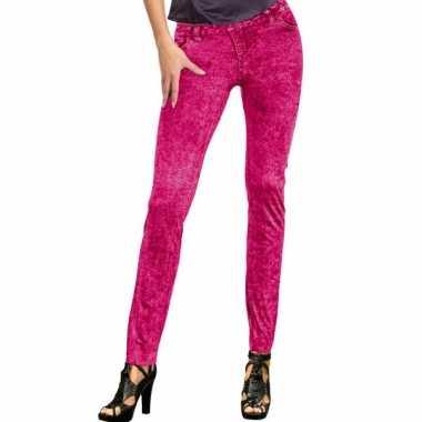 Feestcarnavalspak jeans legging neon roze