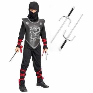 Feestcarnavalspak ninja met dolkenset maat m voor kinderen