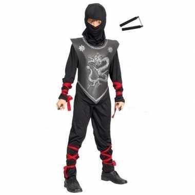 Feestcarnavalspak ninja met vechtstokjes maat m voor kinderen