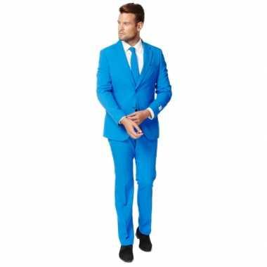 Fel blauw zaken carnavalspak voor heren