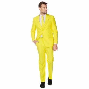 Fel geel carnavalspak pak voor heren