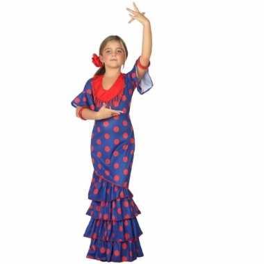 Flamenco danseres carnavalspak blauw met rood spaanse jurk