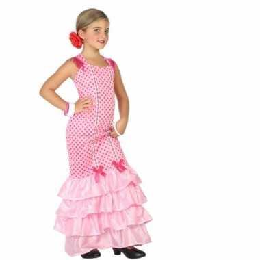 Flamenco danseres carnavalspak voor kinderen roze