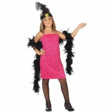 Flapper franje verkleed carnavalspak/jurkje roze voor meisjes
