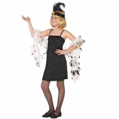 Flapper franje verkleed carnavalspak/jurkje zwart voor meisjes