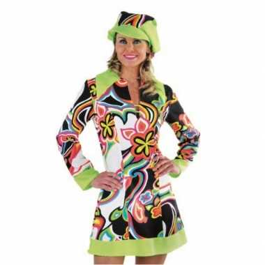 0b02cbb9f6dff5 Flower power hippie jurk dames