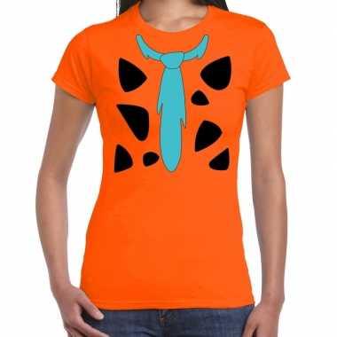 Fred holbewoner carnavalspak t shirt oranje voor dames