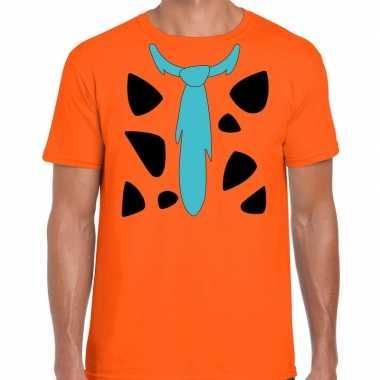 Fred holbewoner carnavalspak t shirt oranje voor heren