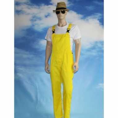 Gele tuinbroek carnavalspakl voor volwassenen