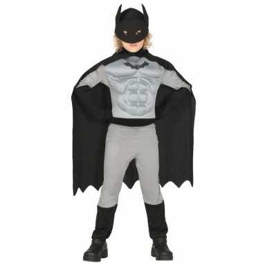 Gespierde vleermuisheld grijs/zwart verkleedcarnavalspak voor jongens