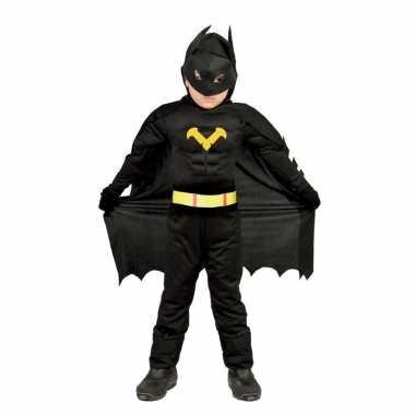 Gespierde vleermuisheld zwart verkleed carnavalspak voor jongens