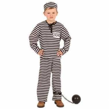 Gestreept gevangene carnavalspak kinderen