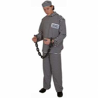 Gestreept gevangene carnavalspak volwassene