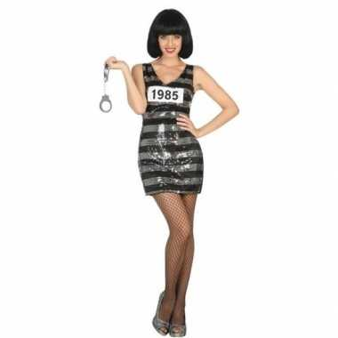 Gevangene/boef ann verkleed carnavalspak/jurk zwart/zilver voor dames