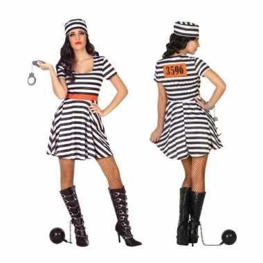 Gevangene/boef bonnie verkleed carnavalspak/jurk voor dames