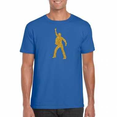 Gouden disco t shirt / carnavalspak blauw voor heren