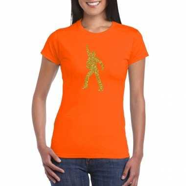 Gouden disco t shirt / carnavalspak oranje voor dames
