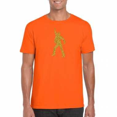 Gouden disco t shirt / carnavalspak oranje voor heren