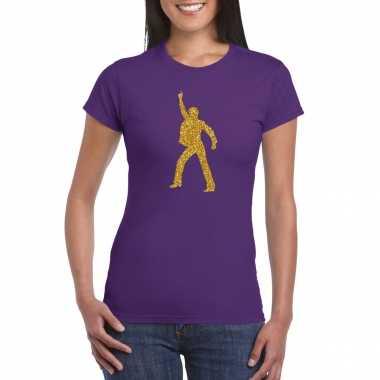 Gouden disco t shirt / carnavalspak paars voor dames
