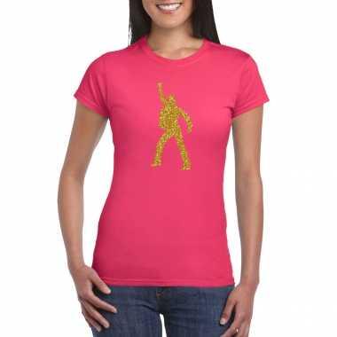Gouden disco t shirt / carnavalspak roze voor dames