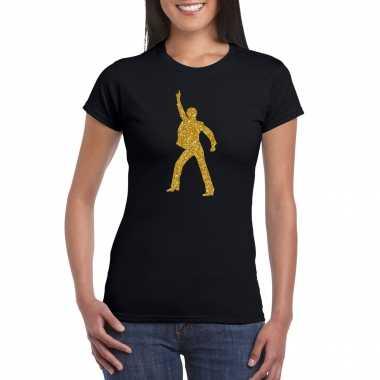 Gouden disco t shirt / carnavalspak zwart voor dames