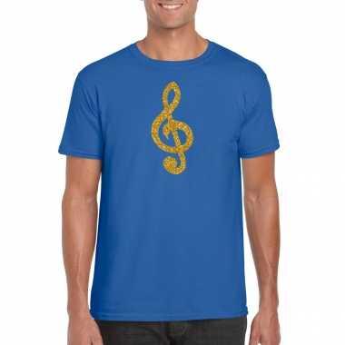Gouden muziek noot g sleutel / muziek feest t shirt / carnavalspak blauw heren