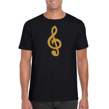 Gouden muziek noot g sleutel / muziek feest t shirt / carnavalspak zwart heren