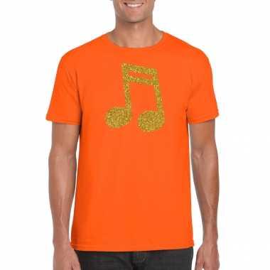 Gouden muziek noot / muziek feest t shirt / carnavalspak oranje heren